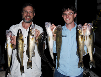 Al & Sean S. with a nice double limit of Walleye caught on Bull Shoals Lake